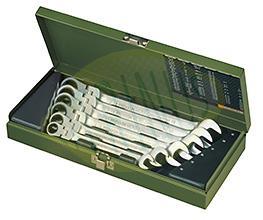 Conjunto de 6 chaves mistas boca – luneta, cabeça articulada com roquete em caixa metálica