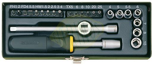 """Composição compacta de 28 peças 1/4"""" em caixa metálica"""