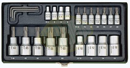 """Conjunto de 23 chaves de caixa 1/4"""" e 1/2""""  Torx em caixa metálica"""