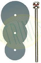 Conjunto de 3 discos de corte em aço 16 - 19 - 22mm